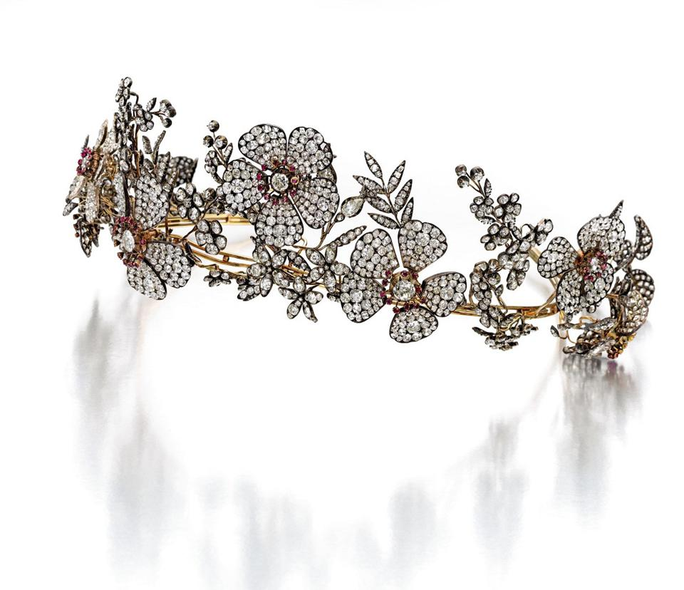 Silver-topped gold, ruby and diamond tiara from the collection of Marylou Whitney