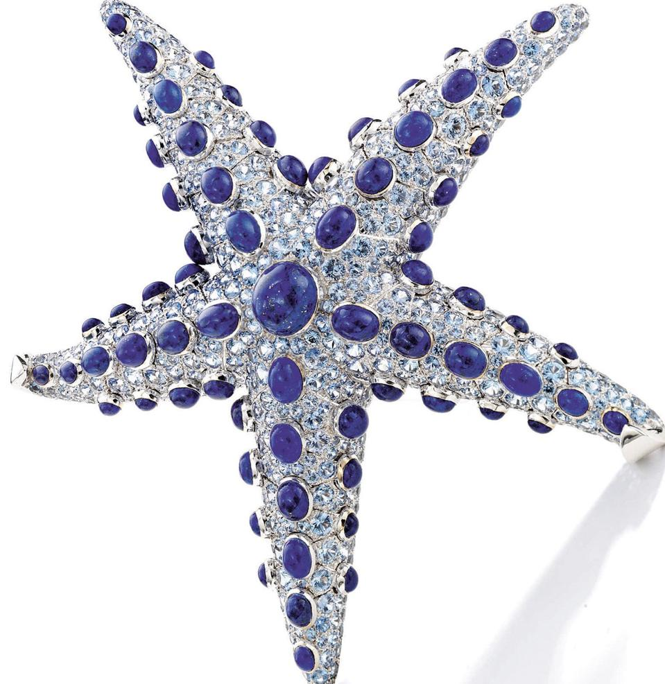 Lapis Lazuli and Sapphire Clip-Brooch by René Boivin