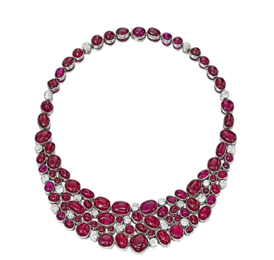 Cabochon ruby and diamond necklace by Suzanne Belperron