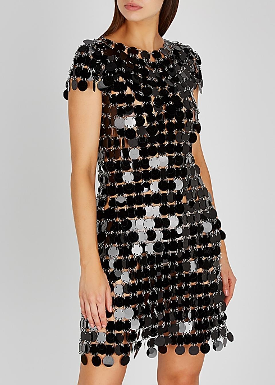 Black Paillette Dress by Paco Rabanne