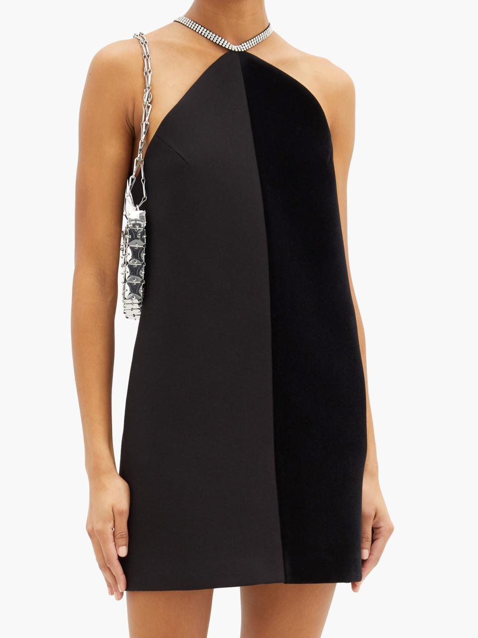 Crystal-Embellished Velvet and Crepe Mini Dress by David Koma