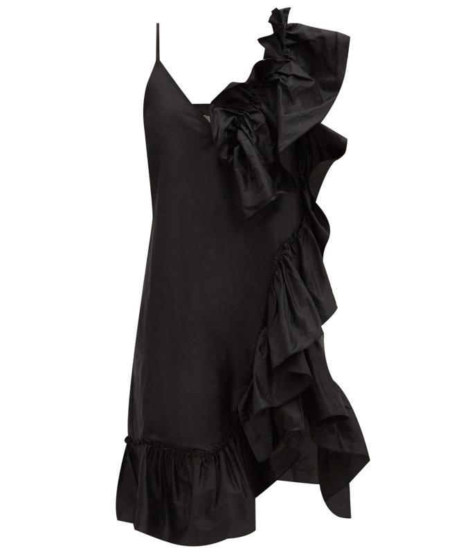 Asymmetric Ruffled Silk-Tafetta Dress by Marques'Almeida