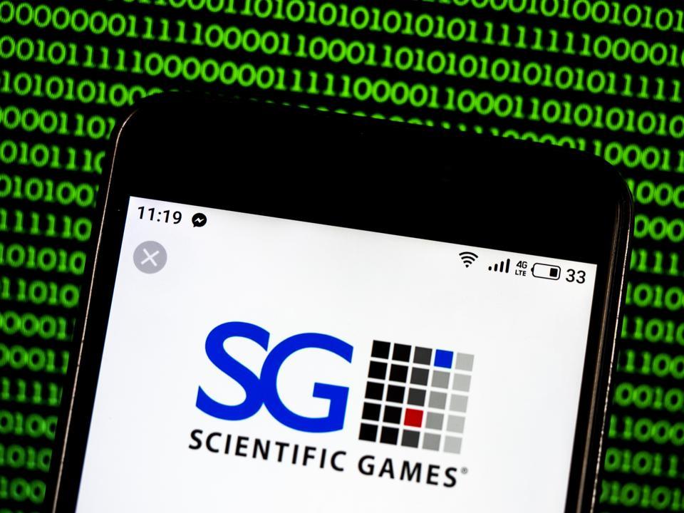 Scientific Games Corporation Gambling company  logo seen