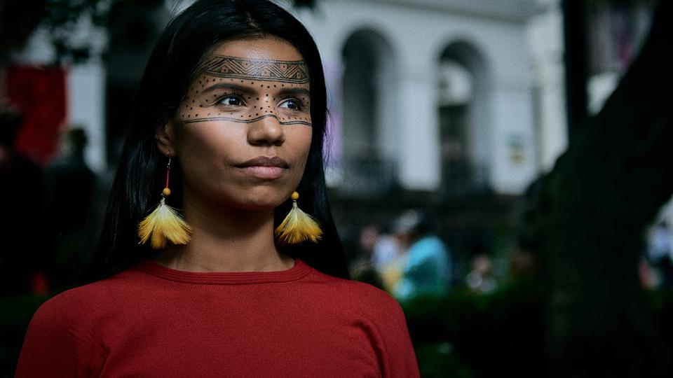 woman in traditional Indian face paint