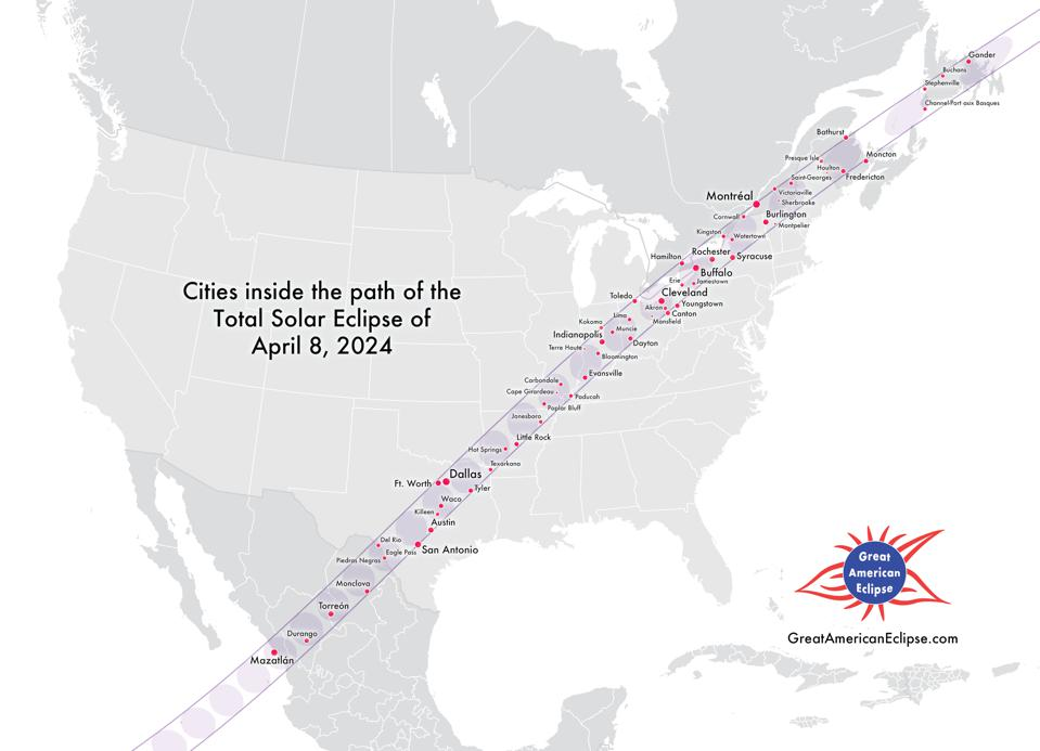 Cities in the U.S. that will experience totality on April 8, 2024 during North America's next total solar eclipse. GreatAmericanEclipse.com