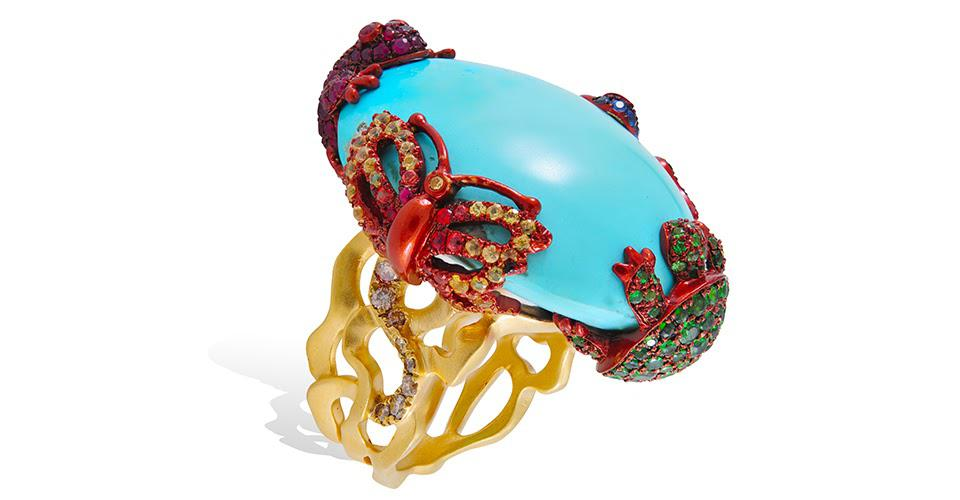 Lydia Courteille Rainbow Warrior ring in 18K yellow gold with turquoise, brown diamond, and fancy sapphire, price on request, lydiacourteille.com