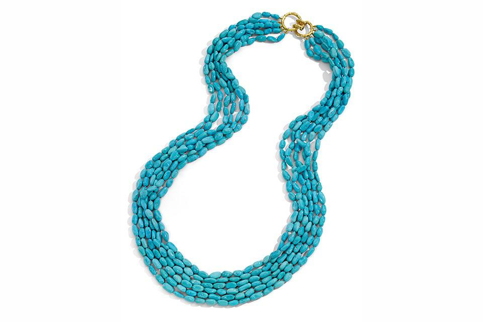 Mish Fine Jewelry Turquoise Nugget Waterfall necklace in 18K gold with 320 grams turquoise and brown diamond, price on request, mishnewyork.com