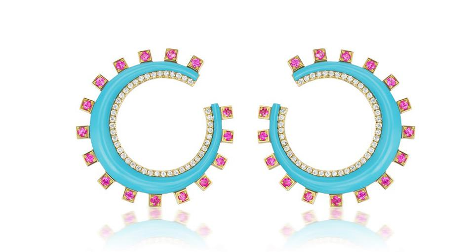 Sorellina Monroe Crescent earrings in 18K gold with turquoise, .60 carats pink sapphire, and .60 carats diamond, $6,000, sorellinanyc.com