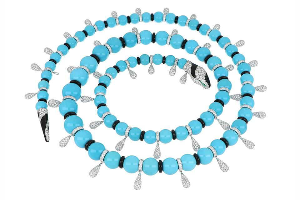 Bulgari Serpenti high-jewelry necklace in 18K white gold with 77 turquoise beads, onyx, emerald, and diamond, price on request, bulgari.com