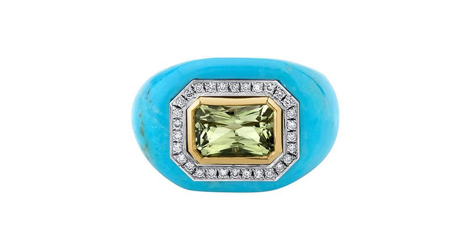 Emily P. Wheeler Chubby ring in 18K yellow and white gold with turquoise, a 2.28-carat yellow chrysoberyl, and .17 carats diamond, $8,000, emilypwheeler.com