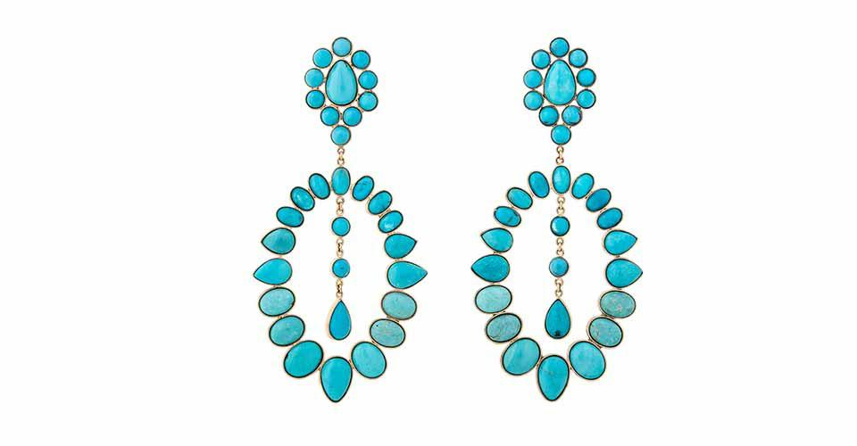 Jacquie Aiche Southwest earrings in 14K yellow gold with turquoise, $13,250, available by special order, jacquieaiche.com