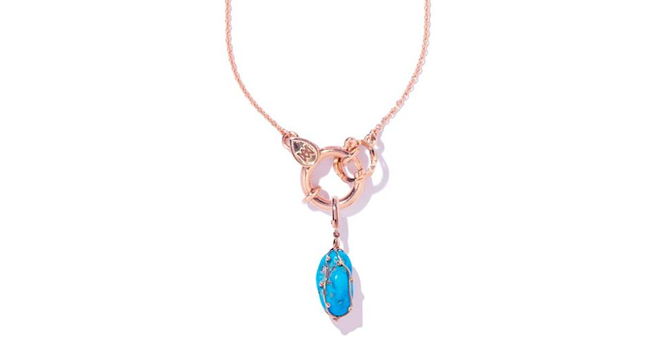Milamore Kintsugi charm in 18K yellow gold with turquoise, $750, and Azuki chain in 18K yellow gold, $1,300, milamorejewelry.com