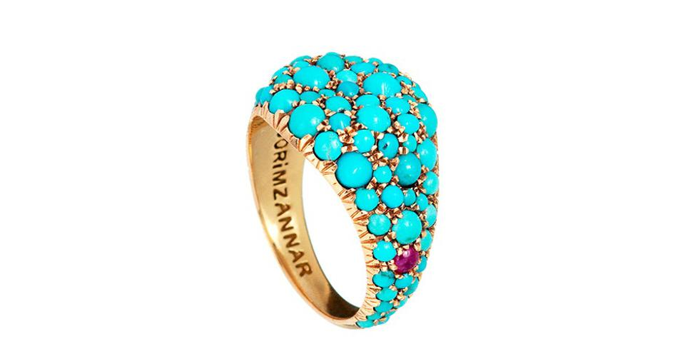 A&W Mouzannar Meteor ring in 18K gold with 4.5 carats turquoise, $4,500, awmouzannar.com