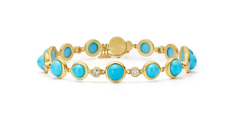 Temple St Clair Single Round bracelet in 18K gold with 18.2 carats turquoise and .59 carats diamond, $6,750, templestclair.com