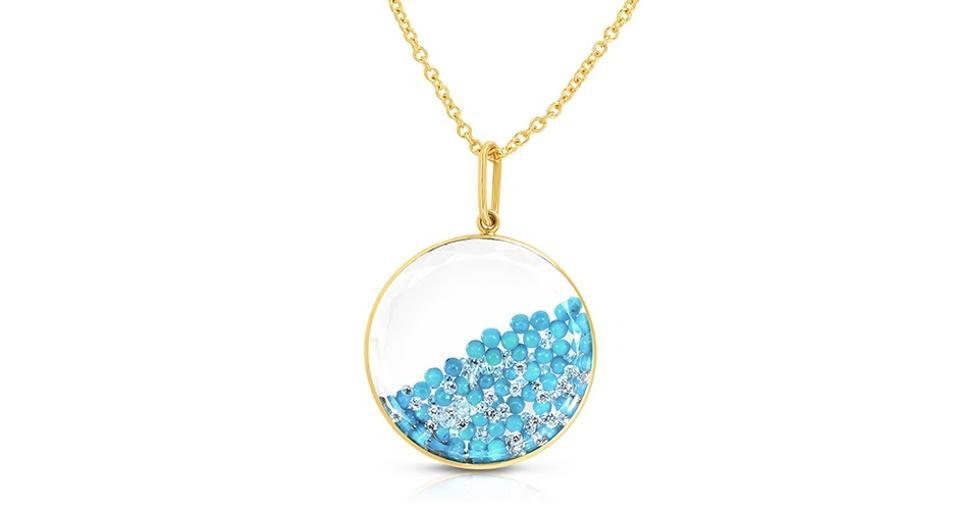 Mortiz Glik Shaker pendant in 18K gold with 2 carats turquoise and .85 carats diamond, $5,300, moritzglik.com
