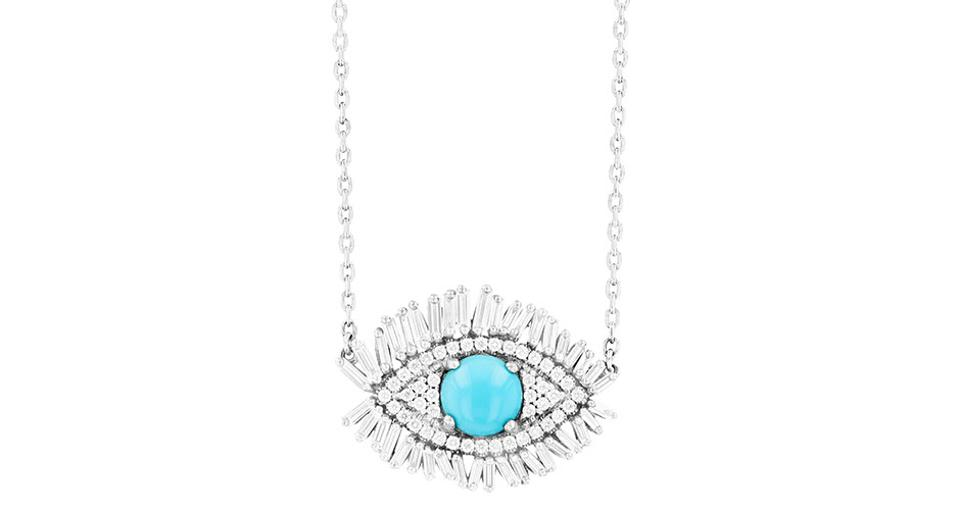 Suzanne Kalan Full Evil Eye Fireworks pendant in 18K white gold with a 6mm Sleeping Beauty turquoise and .60 carats diamond, $3,200, suzannekalan.com