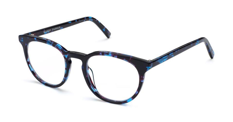 Prescription eyeglasses with blue tortoiseshell frames.