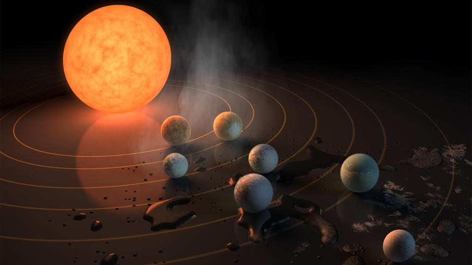 Artist's illustration of the TRAPPIST-1 planetary system.