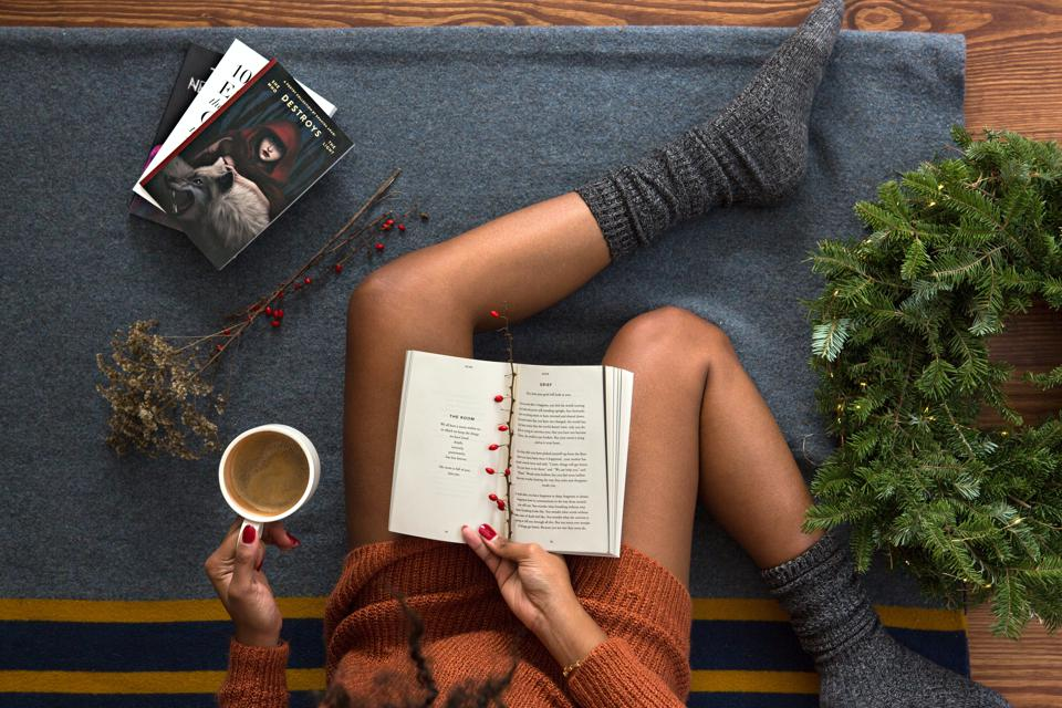 woman relaxing and reading