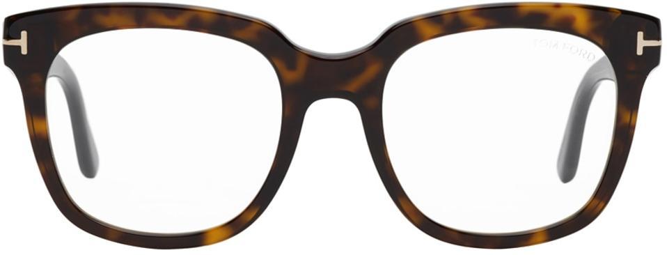 TOM FORD Tortoiseshell Blue Block Square Glasses