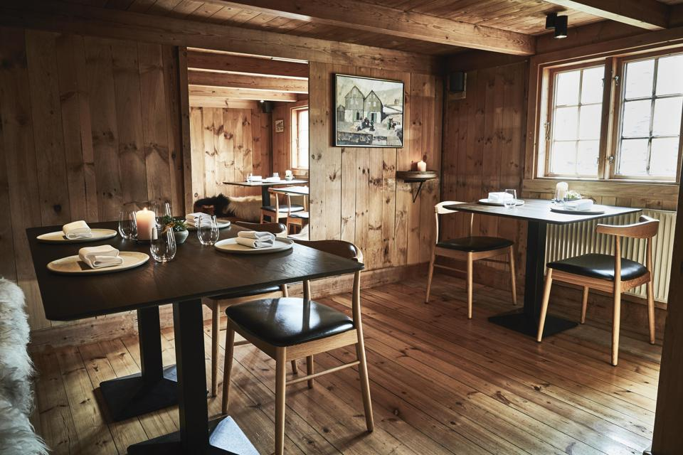 The dining room at KOKS restaurant in the Faroe Islands is rustic but the food is not