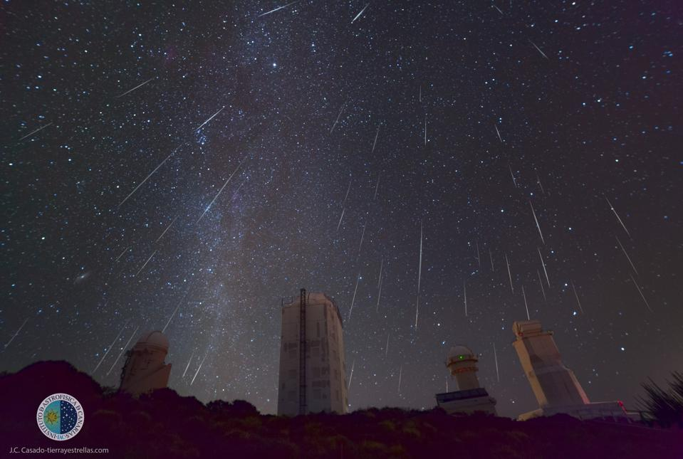 This composite photograph shows a large number of Geminid meteors.