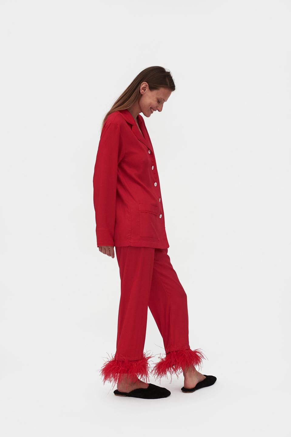 Sleeper's Iconic Party Pajama set with detachable ostrich feathers.