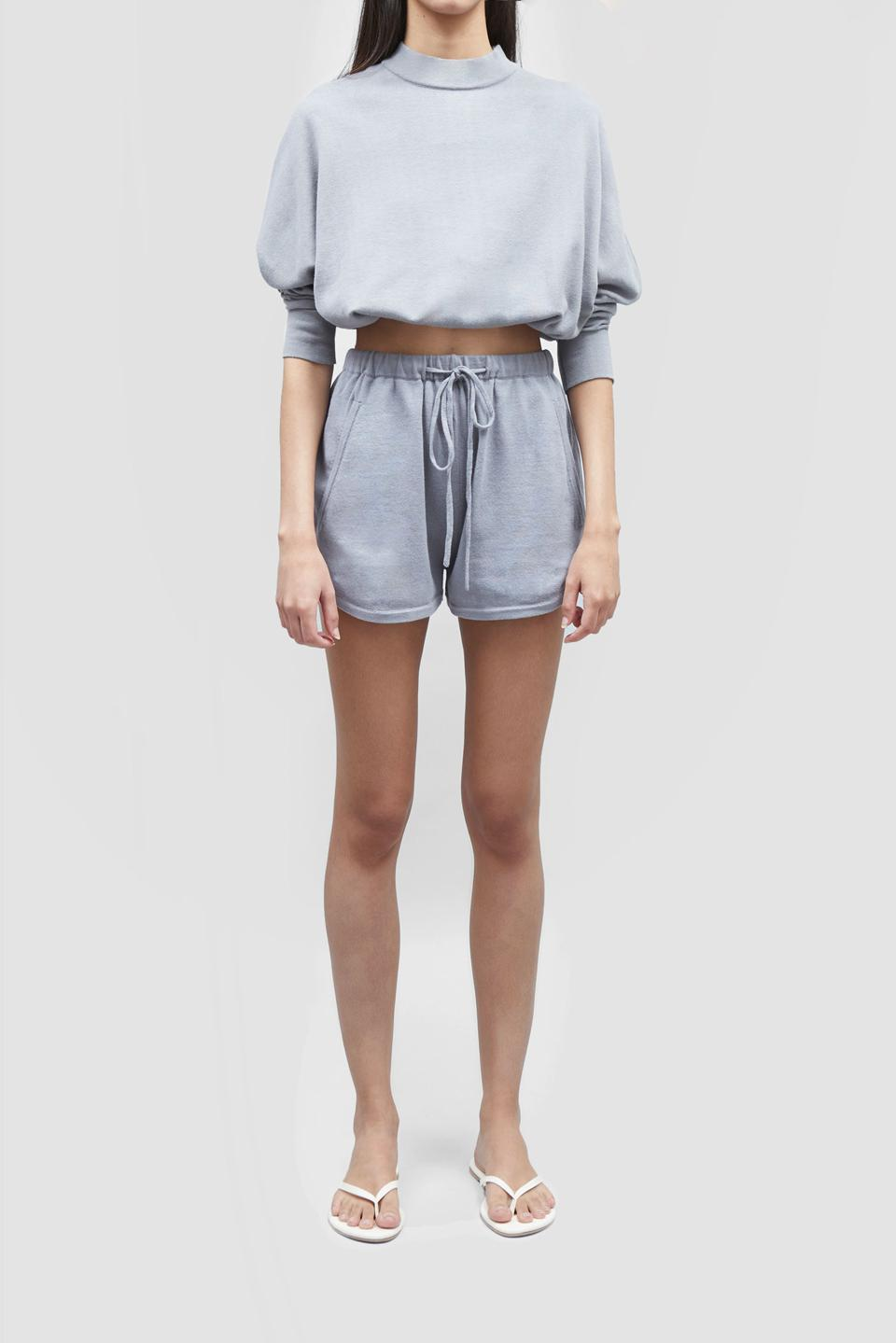 Cropped sweater and runner shorts in shade Stone from PATTON STUDIO