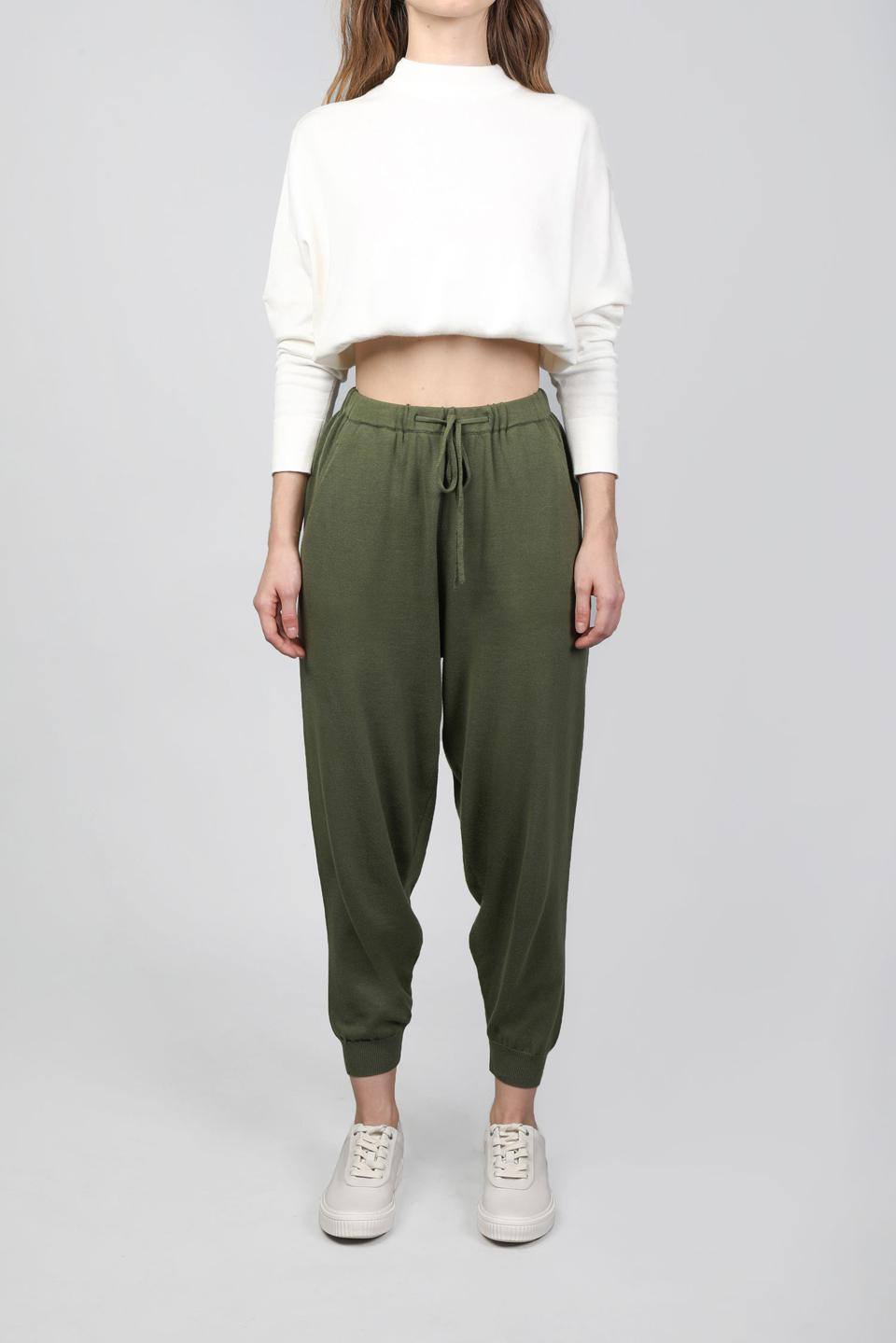 A classic white cropped sweater and joggers in a shade of pine from PATTON STUDIO