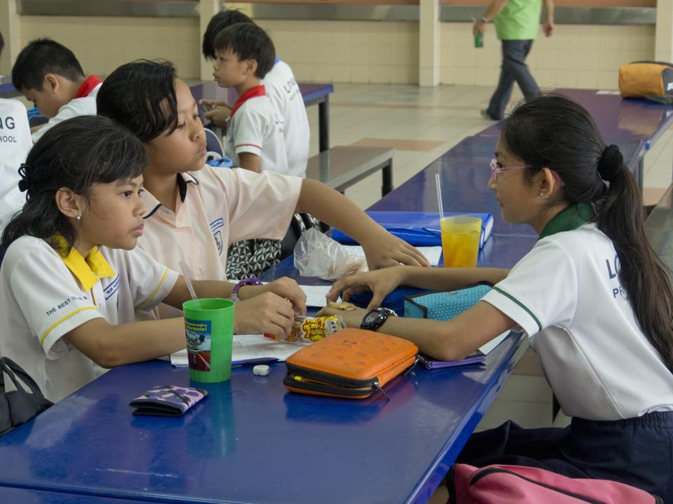 School children in primary school in Singapore.