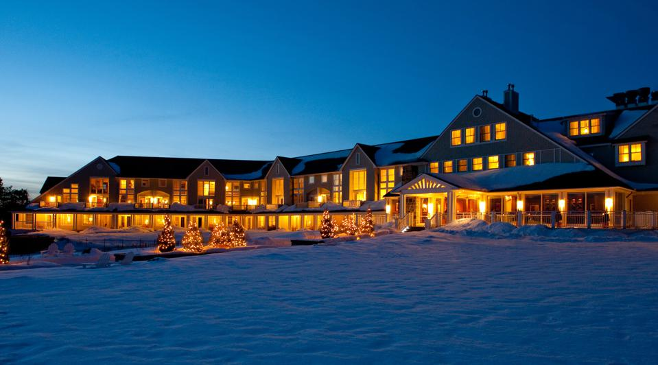 Exterior of the Inn by the Sea in the winter.