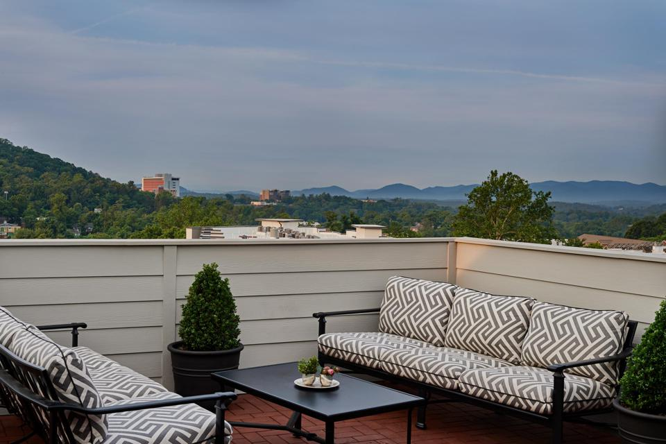 An outdoor terrace at the Foundry Hotel.