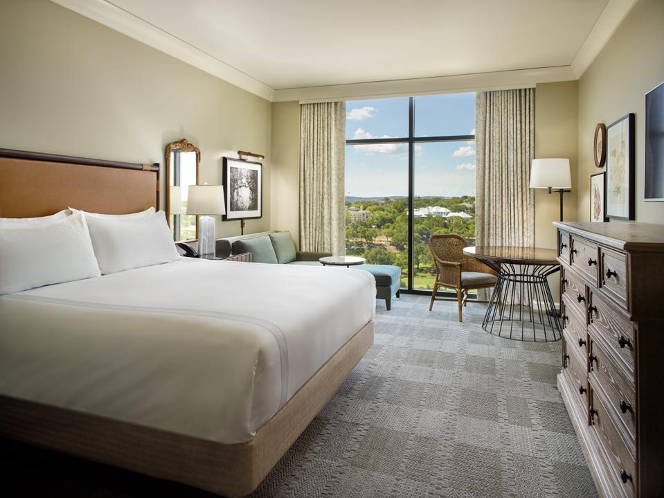 A bedroom at the Omni Barton Creek Resort & Spa.