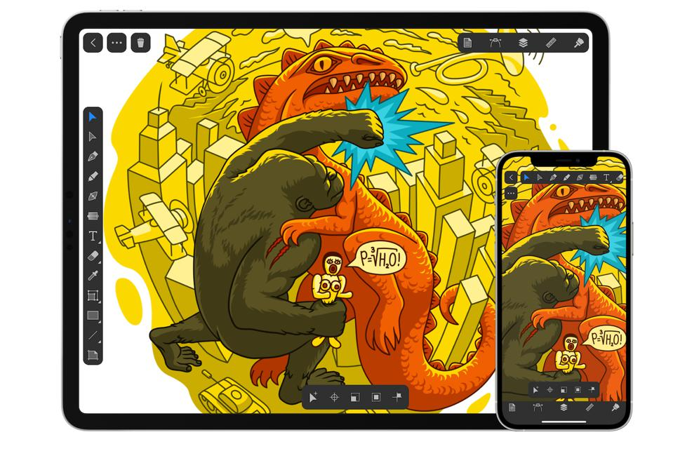 Amadine illustration on iPad and iPhone