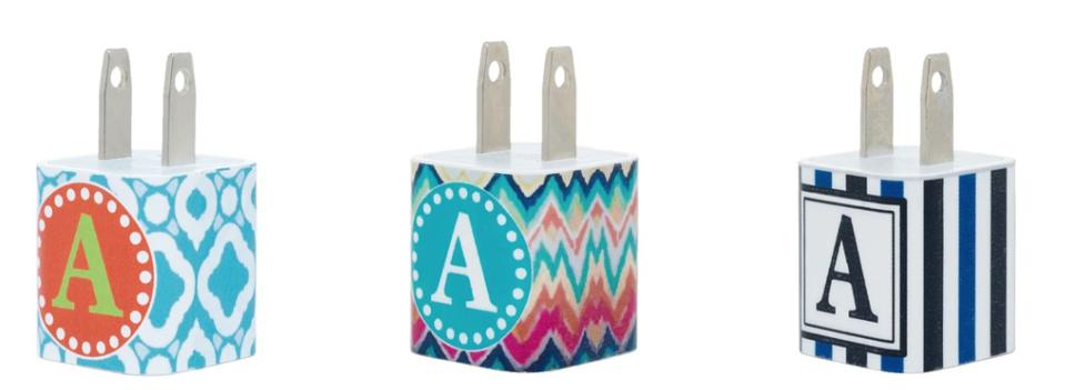Single Letter Phone Charger with Cable from Classy Chargers