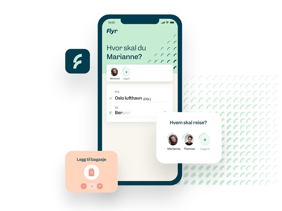 Mockup av Flyer-smarttelefonappen.