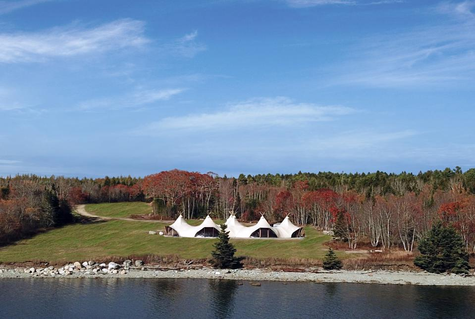 The ″lobby tent″ at the new Under Canvas Acadia camp in Maine