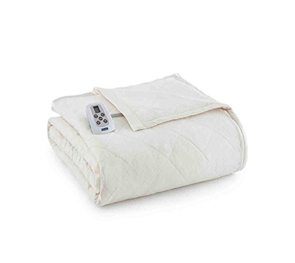 Shavel Home Products Micro Flannel Electric Heated Blanket, Ivory, King/Cal-King