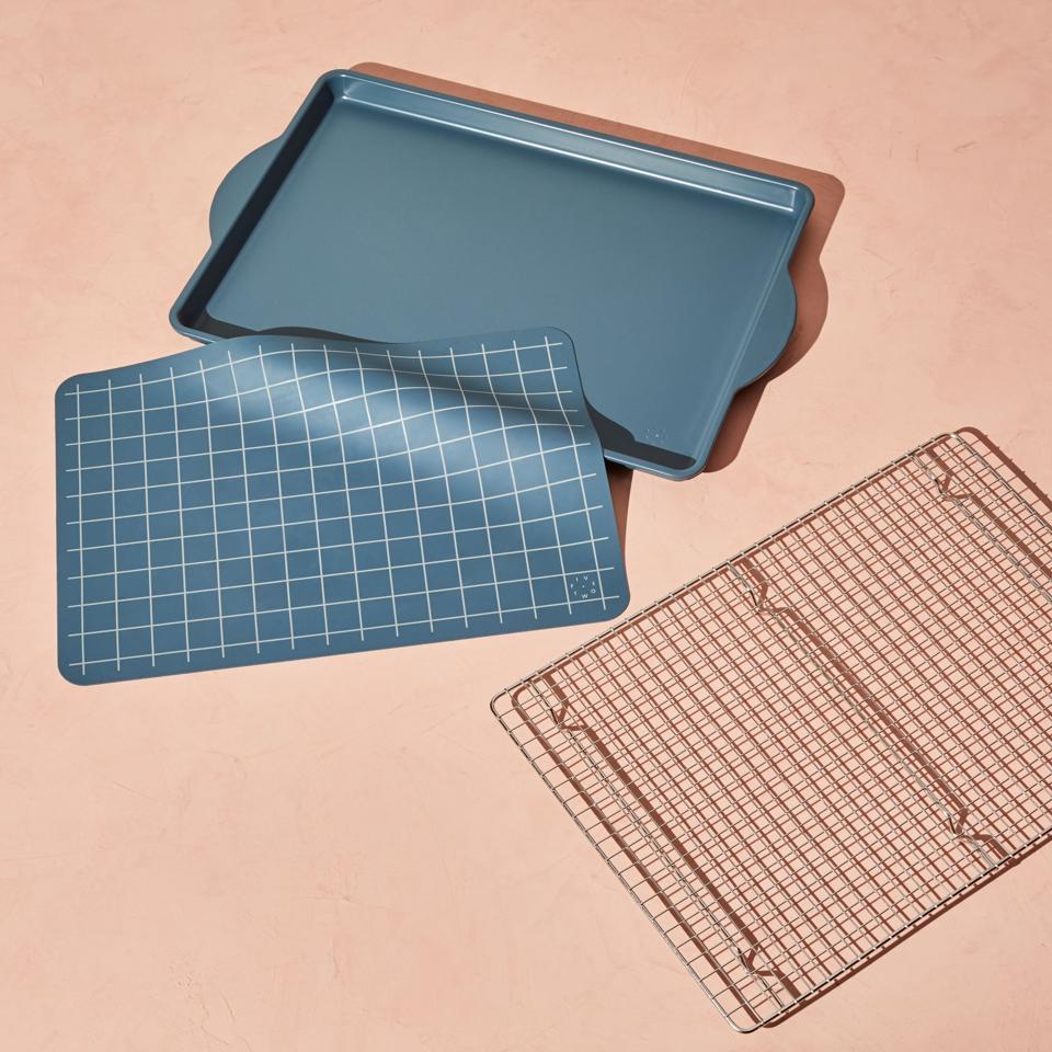 Five Two Essential Sheet Pan, Cooling Rack, Easy Clean, Ceramic Coated, Half Sheet Pan, Teal
