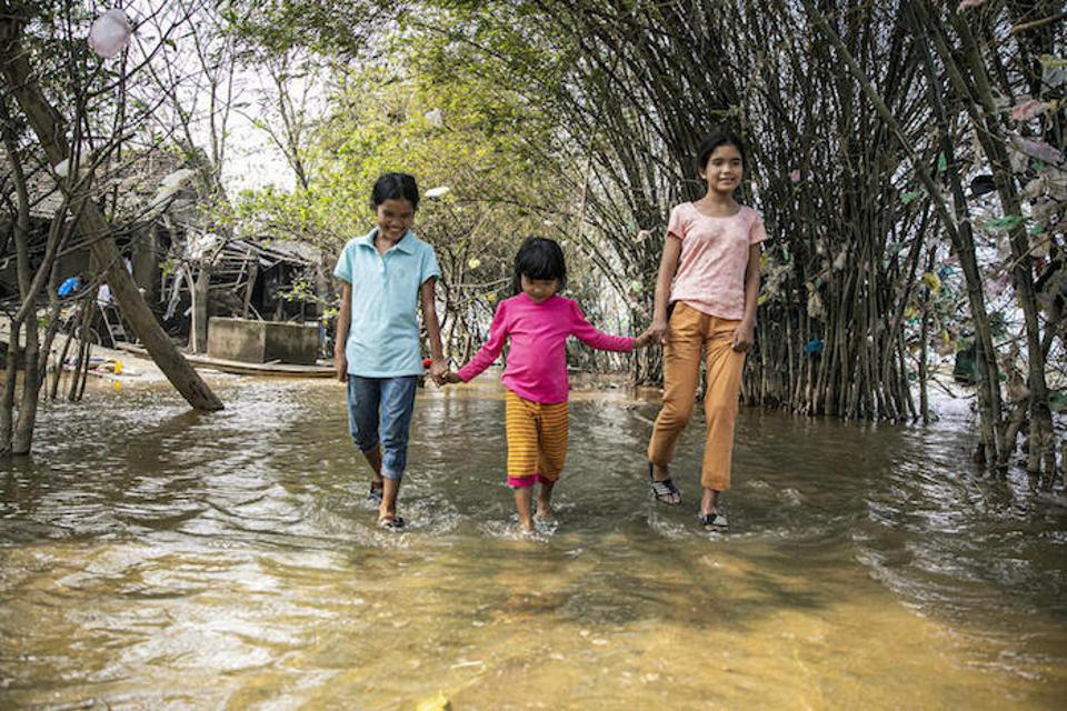 Floodwaters destroyed almost everything owned by the family of these three siblings in Loc Thuy commune, Le Thuy district, Quang Binh, Vietnam.