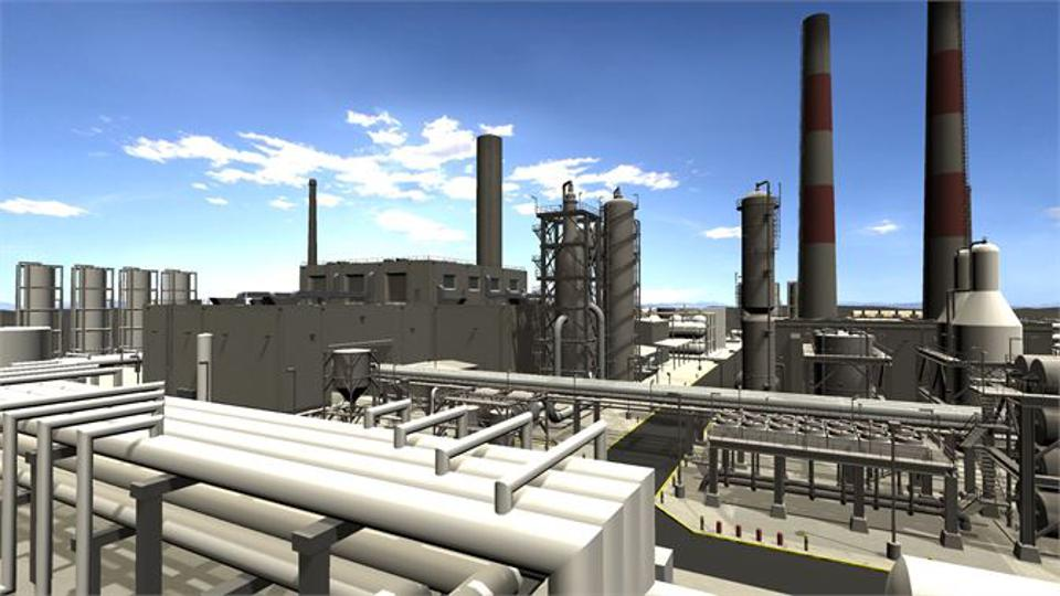 3D simulation of a manufacturing plant