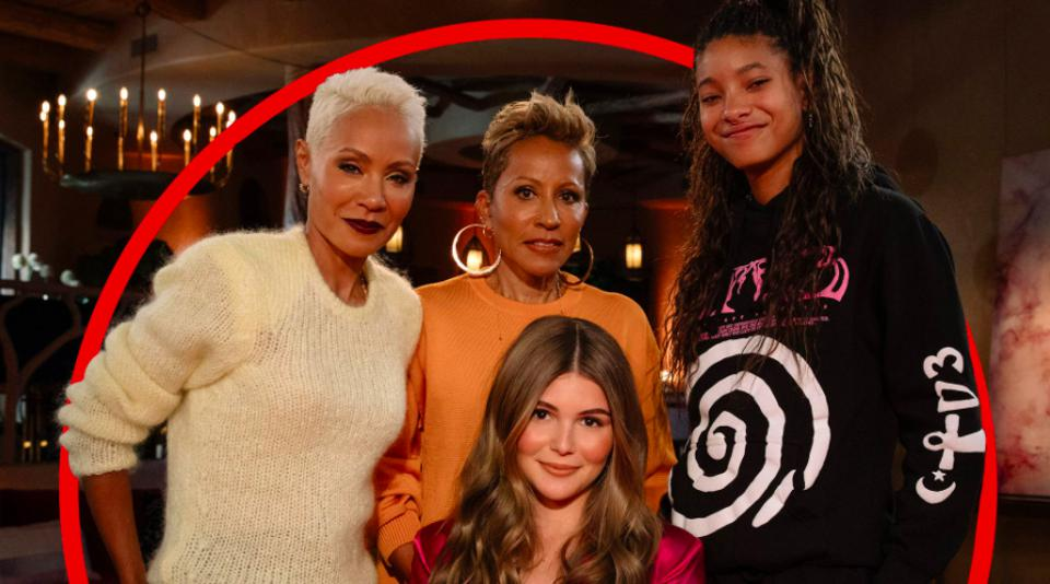 Jada Pinkett Smith, Adrienne Banfield Norris, and Willow Smith (standing, left to right,) talk with Olivia Jade Giannulli (seated) on Red Table Talk on Facebook Watch.