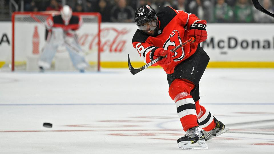 New Jersey Devils defenseman P.K. Subban passes the puck during the third period of an NHL hockey game against the Los Angeles Kings Saturday, Feb. 29, 2020, in Los Angeles. The kings won 2-1 in overtime. (AP Photo/Mark J. Terrill)