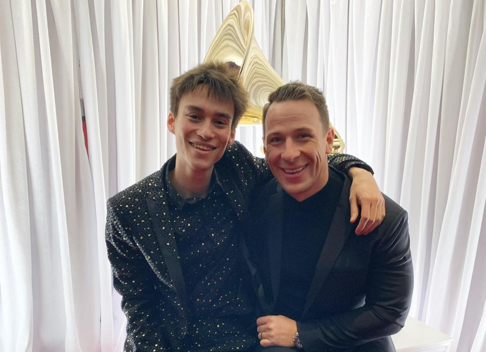 Jacob Collier and Nick Groff at the 2020 Grammys.