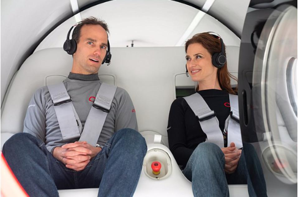Josh Giegel, CTO and Co-founder and Virgin Hyperloop, and Sara Luchian, Director of Passenger Experience, aboard first passenger voyage of Hyperloop.