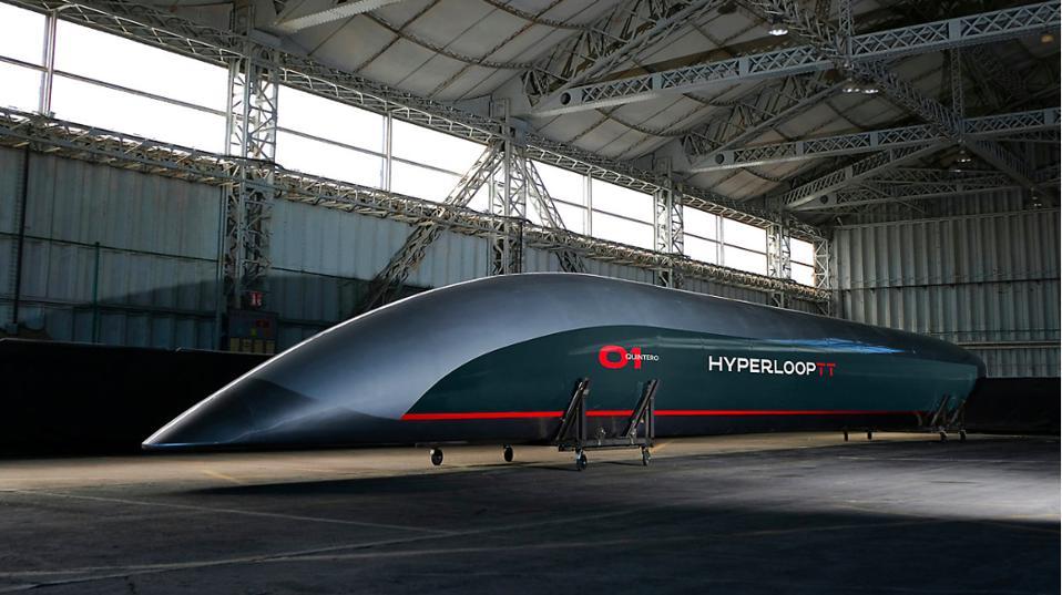 Pegasus, the white and red Hyperloop capsule from Virgin Hyperloop.
