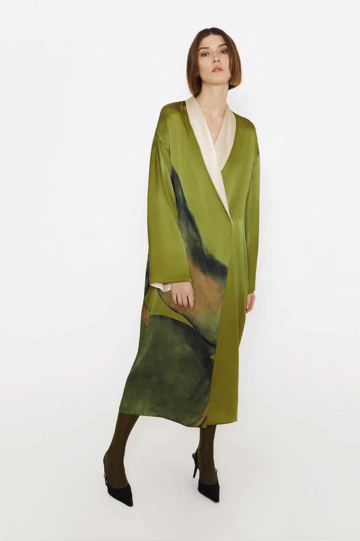 Silk reversible Muse robe with artwork by Alina Zamanova from LESSLESS