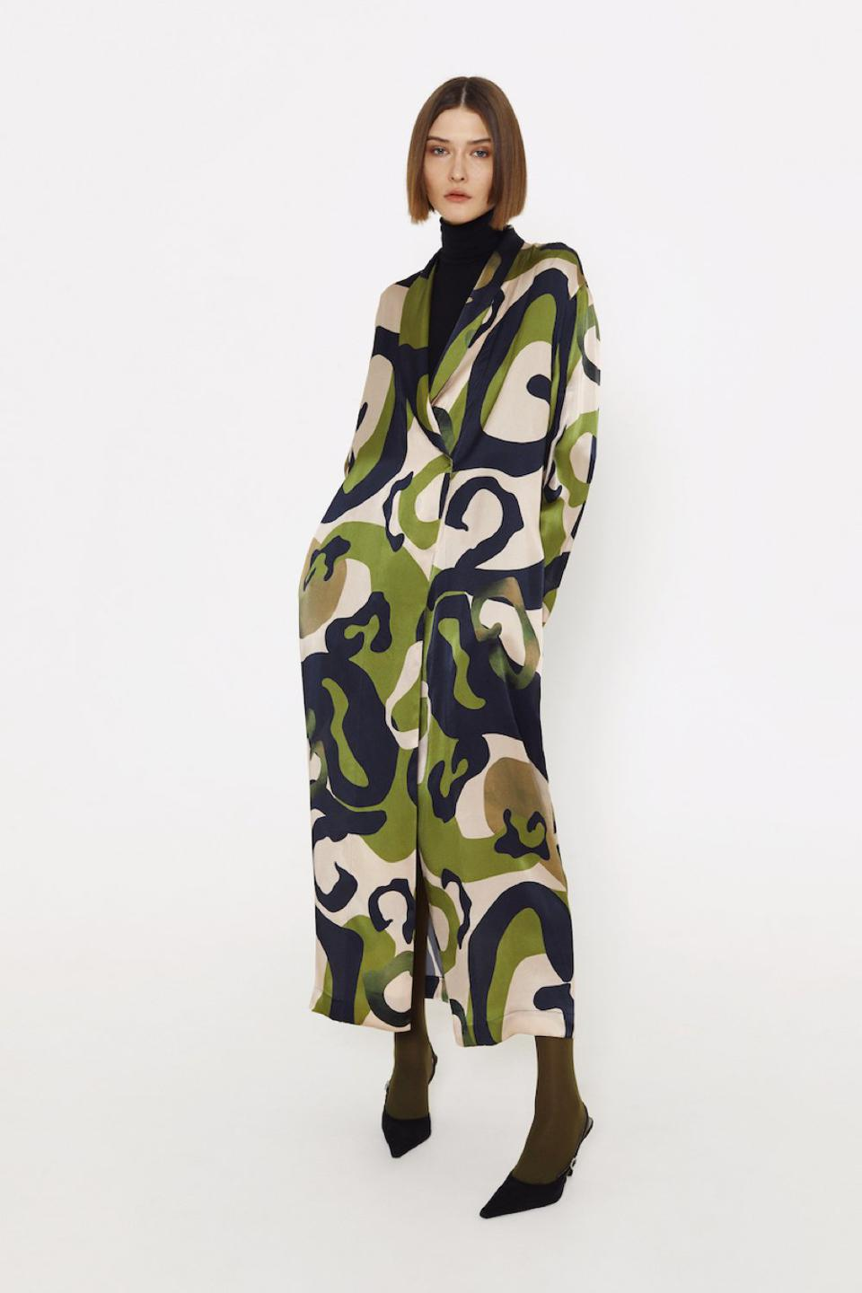 Peignoir style silk robe with print from LESSLESS