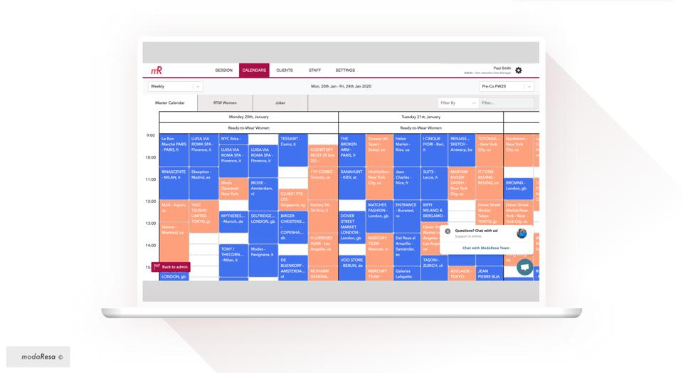 ModaResa's software and calendarsenables brands to organize their showrooms in the most optimal way, for both face-to-face and virtual buying appointments.