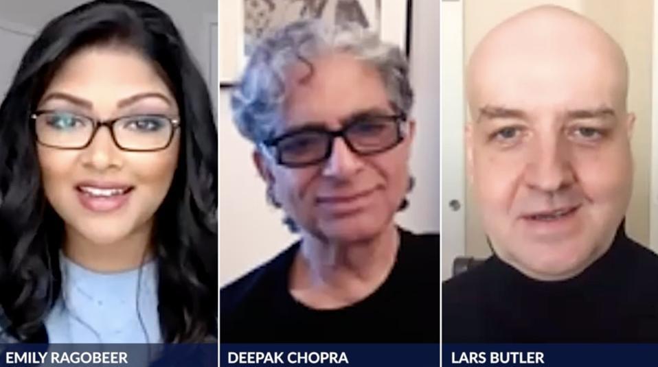 Zoom with Journalist Emily Ragobeer in conversation with Deepak Chopra and Lars Buttler